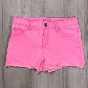 Girls 14 stretch denim hot pink neon jean shorts